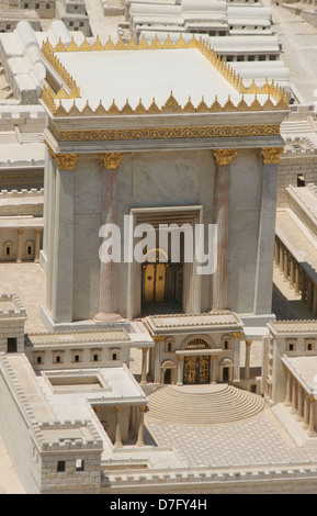 Reconstructed 2nd Temple as part of Model Of Ancient Jerusalem - Stock Photo