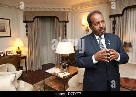 Somalia Conference, London, UK 07.05.2013 Picture shows Hassam Sheikh Mohamud, President of Somalia, at the Dorchester - Stock Photo