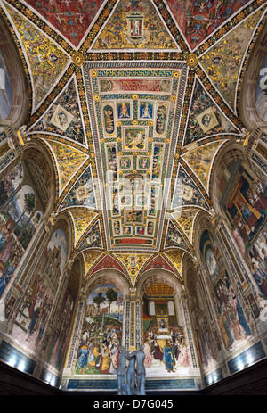Italy Siena the Piccolomini library with frescos by Pinturicchio in the Duomo - Stock Photo
