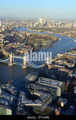 View of Tower Bridge and The Thames looking towards East London from The View from the Shard - Stock Photo