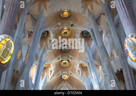 Spain Barcelona the interior of La Sagrada Familia designed by architect Antoni Gaudì i Cornet. - Stock Photo