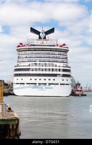 Carnival Magic Cruise Ship Docked At Galveston Texas Usa
