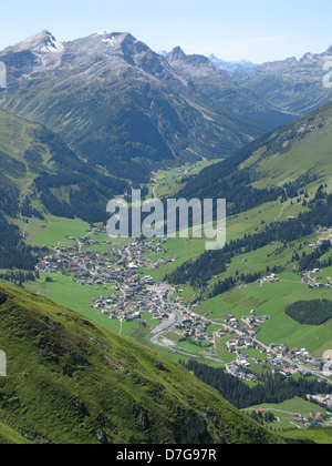 View of the alpine town of Lech, in the Vorarlberg region of Austria - Stock Photo