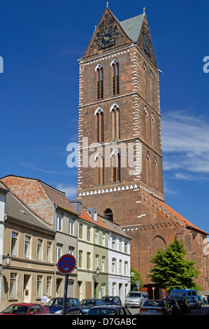 Mecklenburg Western Pomerania, Germany, Wismar, St. Marien church - Stock Photo