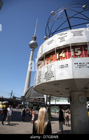 Berlin Mitte Alexanderplatz Alexander Square world time clock Television tower - Stock Photo