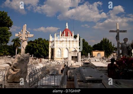 latin americas biggest Cemetery Cementerio Cristobal Colon in Havana, Cuba, Caribbean - Stock Photo