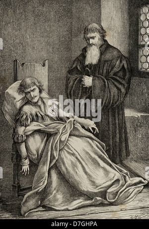 Ulrich von Hutten (1488-1523). German writer and theologian. Engraving in Germania, 1882. - Stock Photo