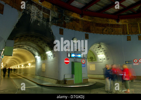 Germany, Hamburg, alter Elbtunnel, old street tunnel, undercrossing river Elbe, - Stock Photo
