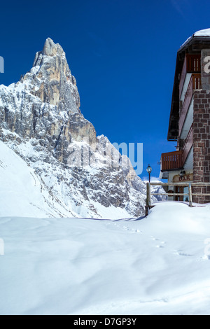 Italy Dolomites Trentino Alto Adige the Pale di San Martino mountain seen from the Rolle Pass - Stock Photo