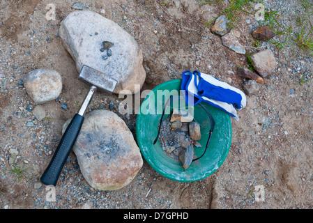 Manual and old-fashioned gold prospecting equipment. Kolsvik, Bindal, Nordland, Norway. - Stock Photo