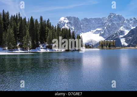 Italy Dolomites Veneto the Misurina Lake with the Sorapiss mountain in the background - Stock Photo
