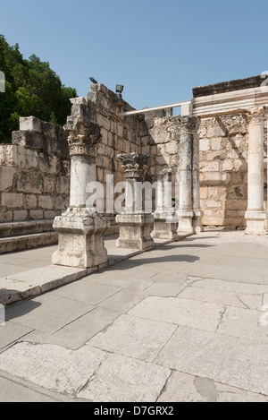 The Synagogue in Capernaum viewed from the entrance - Stock Photo