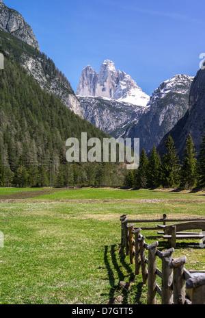 Italy Dolomites Veneto the Lavaredo mountain seen from the Dobbiago area - Stock Photo