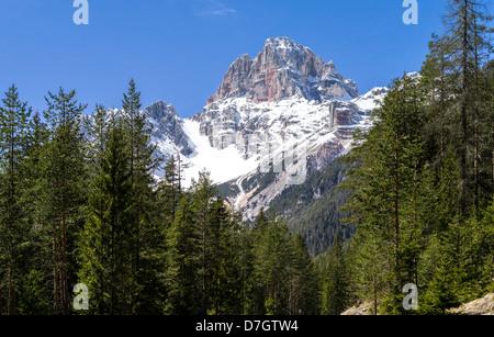 Italy Dolomites Veneto the Croda Rossa mountain seen from Misurina area - Stock Photo