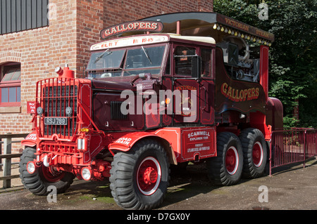 1955 Scammell truck housing a generator for a Victorian fairground ride, Tatton Park, Knutsford, Cheshire, England, - Stock Photo
