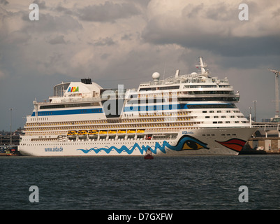 Cruise ship AIDAstella berthed in Southampton Port Hampshire England UK - Stock Photo