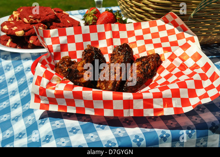 Grilled Saucy Wings - Stock Photo