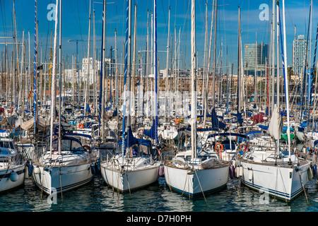 Boats at Port Vell, Barceloneta, Barcelona, Catalonia, Spain - Stock Photo