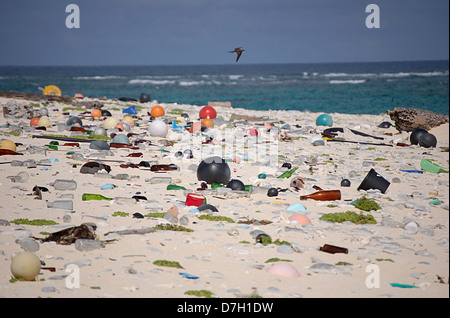 Plastic and marine debris washed ashore on the beach on Laysan Island September 14, 2009 in the Hawaiian Islands - Stock Photo