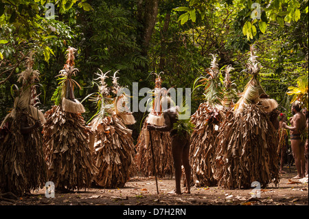 Rom Dancers on the last day of Ambrym's annual Back to My Roots festival of traditional culture, Vanuatu - Stock Photo