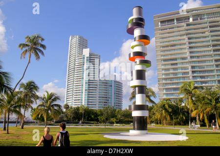 Miami Beach Florida South Pointe Park high-rise condominium buildings Murano Apogee Obstinate Lighthouse by Tobias - Stock Photo