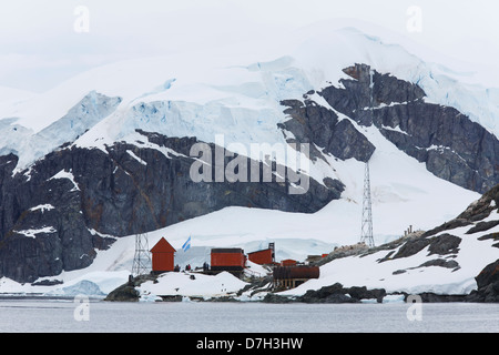 Almirante Brown Station, and Argentine station located in Paradise Bay, Antarctica. - Stock Photo