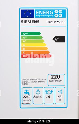 European Union energy label dishwasher - Stock Photo