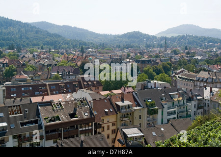 sunny aerial view of Freiburg im Breisgau, a city in Southern Germany - Stock Photo