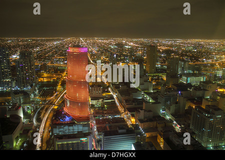 Florida, FL, South, Miami, aerial, view, from Southeast Financial Center, centre, downtown, skyline, night nightlife evening, buildings, city skyline