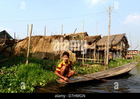floating gardens Inle lake Myanmar - Stock Photo