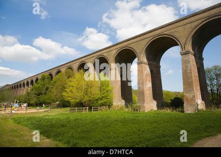Victorian railway viaduct Chappel, Essex, England