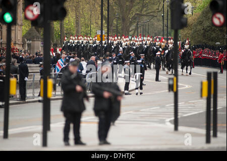 London, UK. 8th May 2013. Sovereigns Escort of mounted Blues and Royals outside the Houses of Parliament in Westminster - Stock Photo