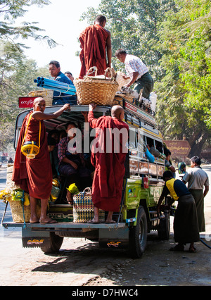 Overcrowded pickup truck – most popular form of transport around the country, Burma (Myanmar) - Stock Photo