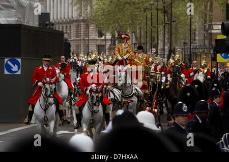 Westminster London, UK. 8th May 2013.  The Queen arrives in a carriage to open a new session of Parliament at the - Stock Photo