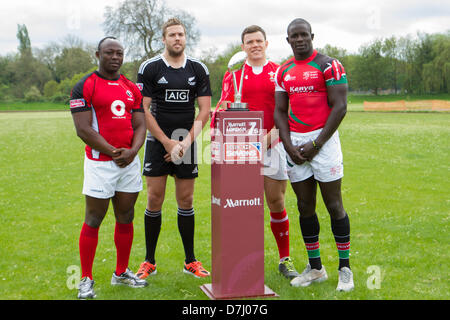 Barn Elms, Barnes, London, UK. 8th May 2013. Pool B team captains, Canada, New Zealand, Wales and Kenya with the - Stock Photo