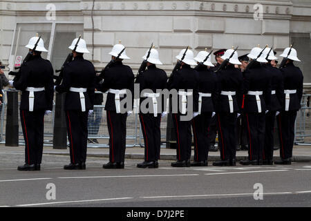 8th May 2013. Westminster London, UK.  Royal marines parade in Whitehall along the processional route in Whitehall - Stock Photo