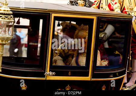 8th May 2013. Westminster London, UK.  Charles the Prince of wales and Camilla arrive in a horse drawn carriage - Stock Photo