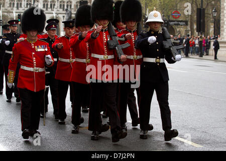 8th May 2013. Westminster London, UK.  Royal marines and Queens guards parade  along the processional route in Whitehall - Stock Photo