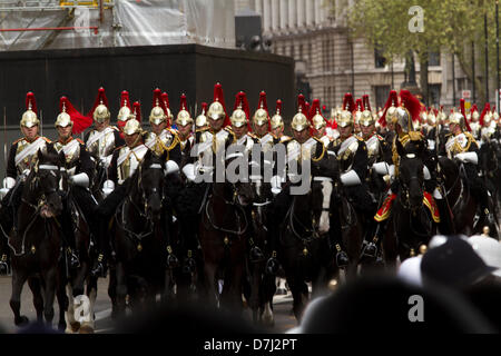 8th May 2013. Westminster London, UK.  Horse guards parade  along the processional route in Whitehall prior to the - Stock Photo