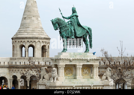 Statue of King Istvan, Fisherman's Bastion - Stock Photo