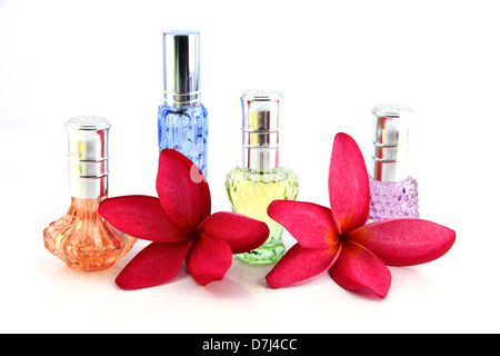 The Red flowers and Orange,Blue,Green,Violet Perfume bottles on the white background. - Stock Photo