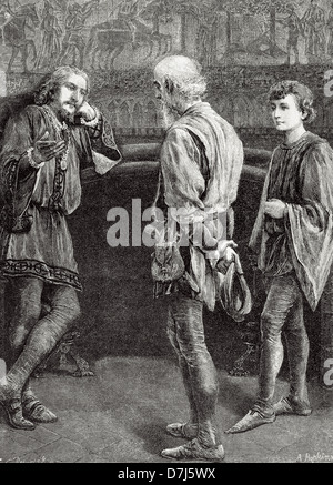 William Shakespeare (1564-1616). English writer. Hamlet and the comedians. Act II, Scene II. Engraving.