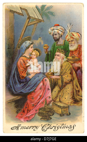 Vintage early 1900's Christmas postcard illustration with the Three Kings - Stock Photo