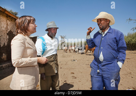 Dutch minister lilanne ploumen (development aid) visits a farm outside Addid Abbeba, Ethiopia. - Stock Photo