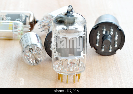 Old vacuum radio tubes - Stock Photo