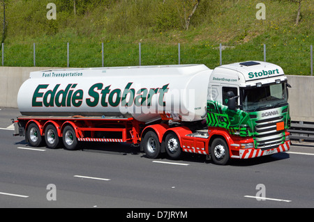 Eddie Stobart fuel tanker articulated hgv Scania lorry on M25 London orbital motorway - Stock Photo
