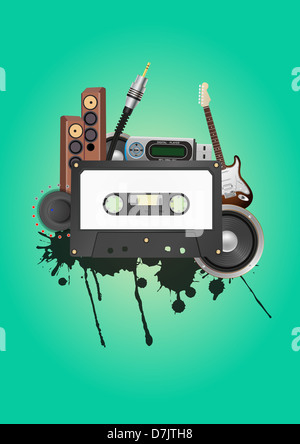 illustration of tape cassette with audio device - Stock Photo