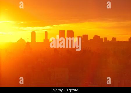 Los Angeles Hollywood skyline at sunset - Stock Photo