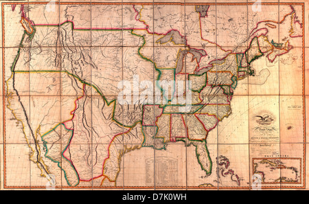 Map of the United States of America : with the contiguous British and Spanish possessions, 1819 - Stock Photo