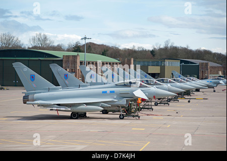UK Air Force Eurofighter EF-2000 Typhoons FGR4 at RAF Leuchars Fife. Scotland.  SCO 9053 - Stock Photo